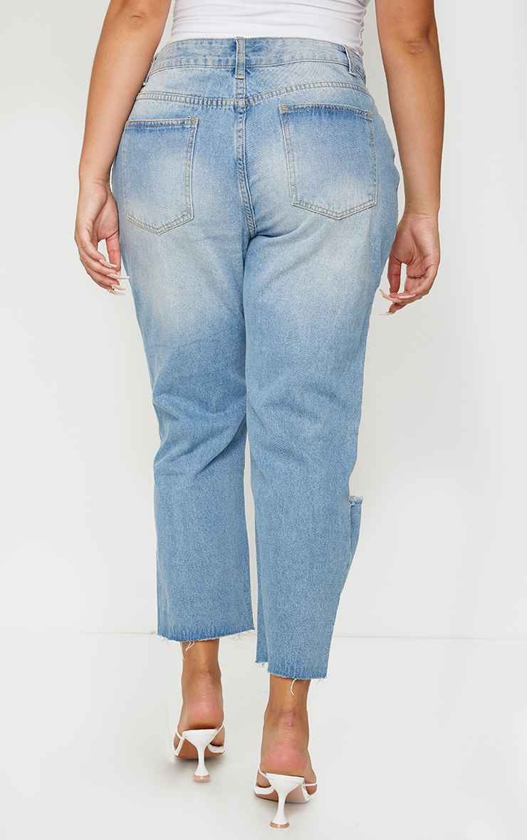 Plus Light Wash Cropped Straight Leg Jean 3