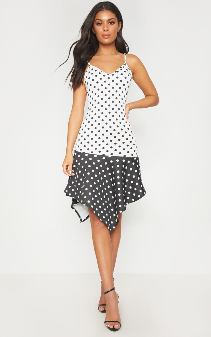 White Polka Dot Contrast Frill Hem Midi Dress Pretty Little Thing Pre Order For Sale xkox4iZ1C