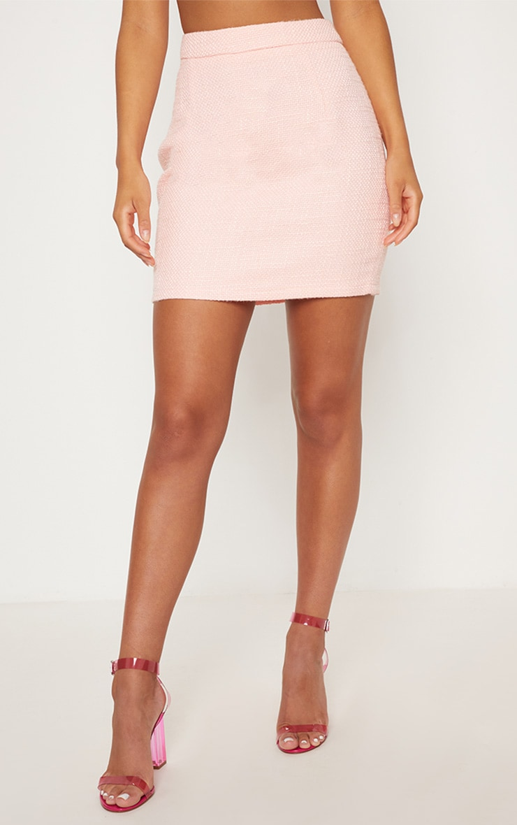 Pastel Pink Boucle High Waisted Skirt 3