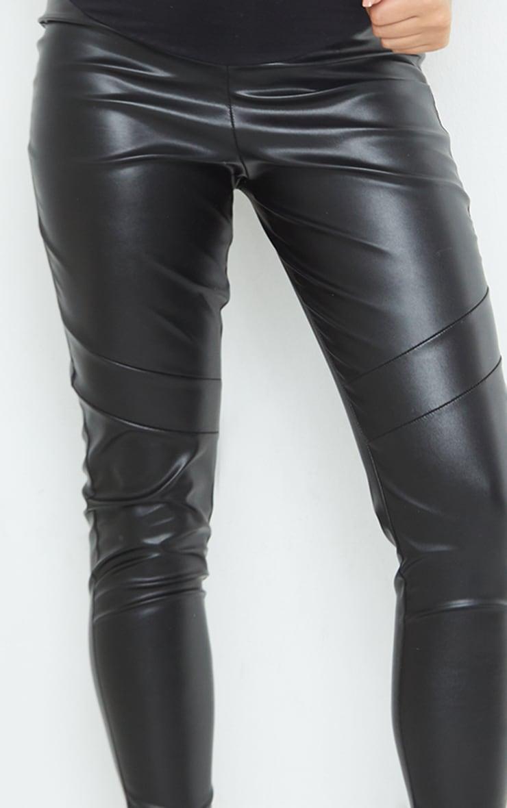 Maternity Black Faux Leather Over Bump Leggings 4