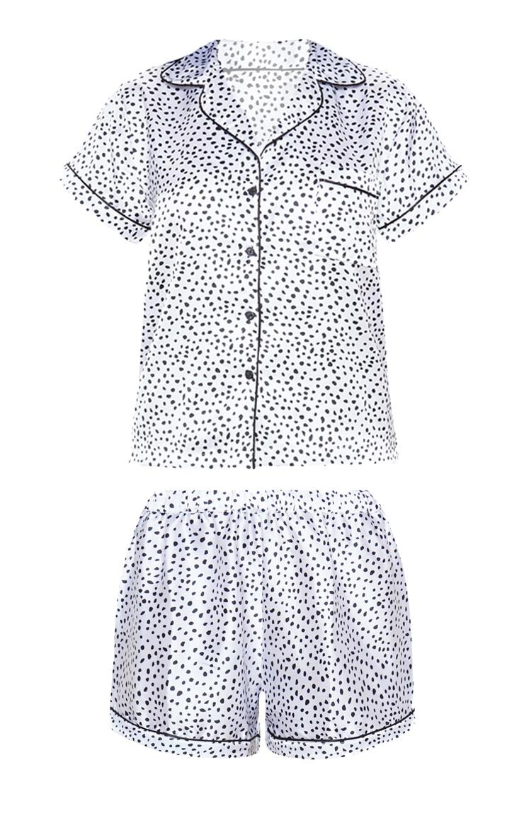 White Dalmatian Print Short Satin PJ Set 3