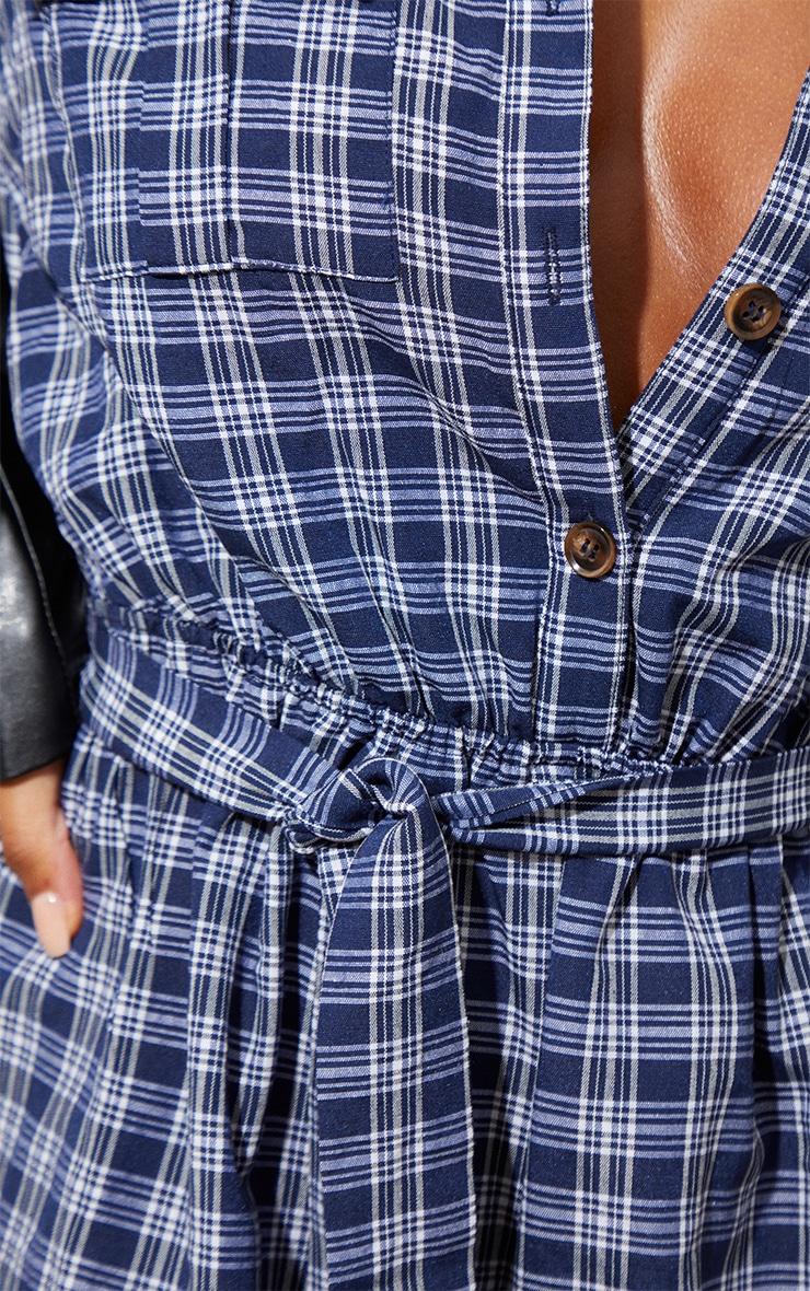 Blue Check Tie Waist  Shirt Playsuit 4