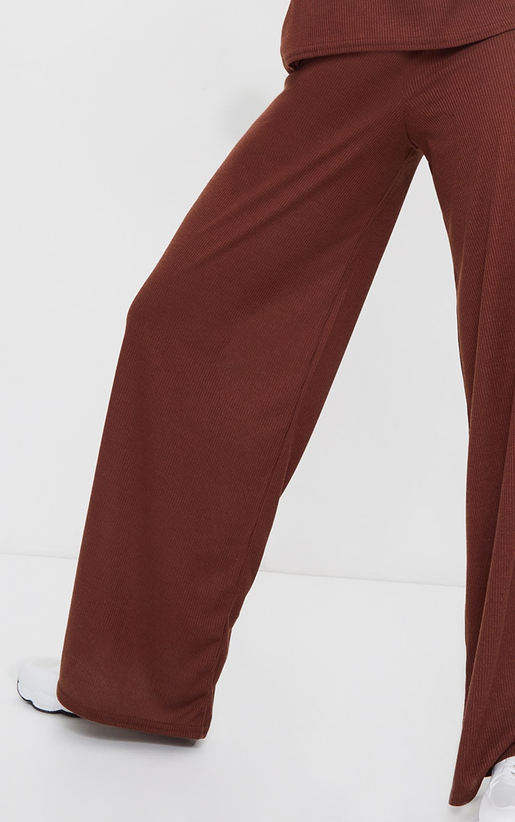 Chocolate Brown Ribbed Wide Leg Trousers 4