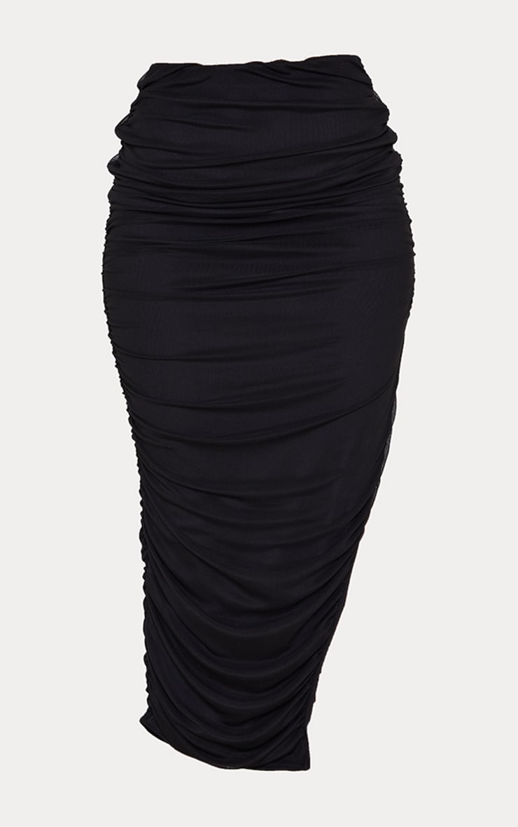 Black Mesh Layered Ruched Detail Split Leg Midaxi Skirt 5