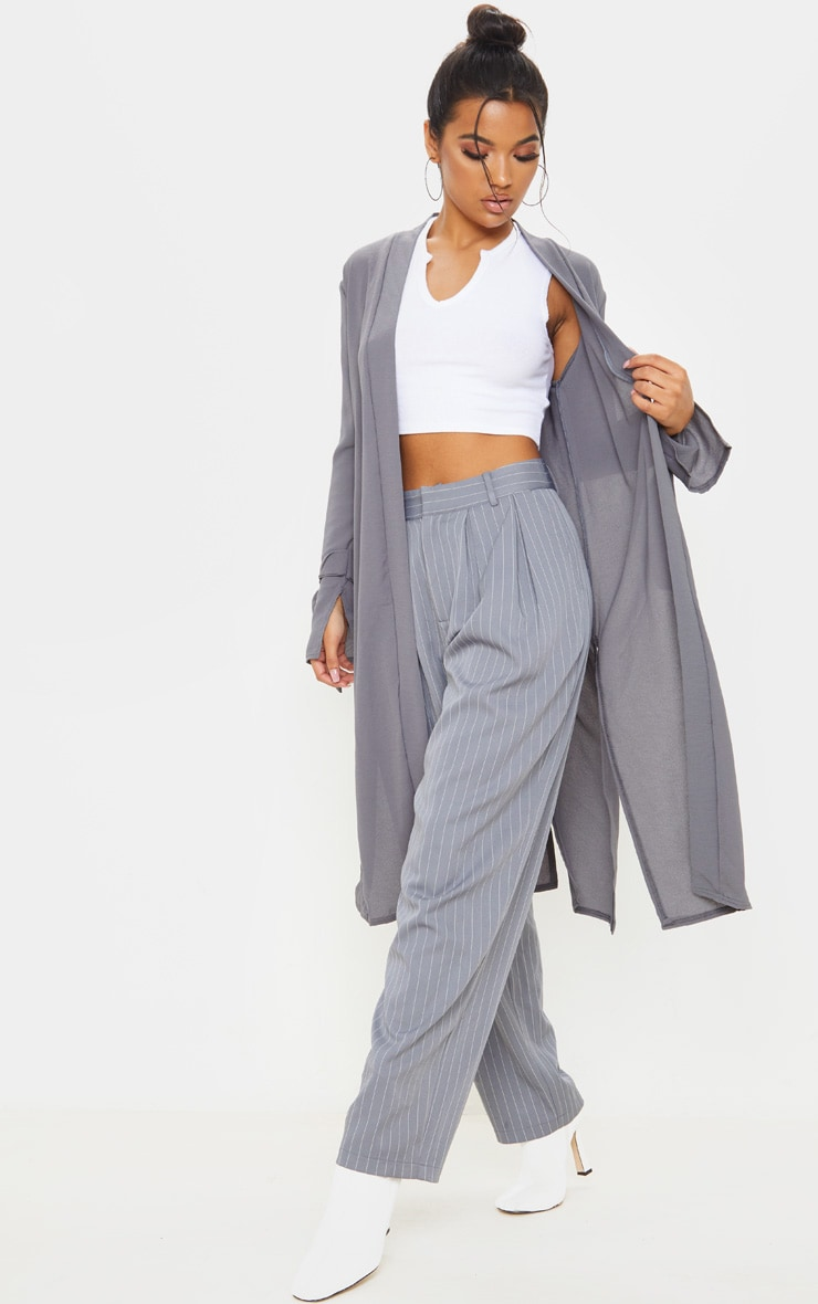 Aba Grey Sleeve Tie Detail Duster Jacket 4