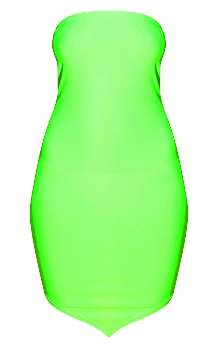 Neon Green Bandeau Pointy Hem Bodycon Dress 3