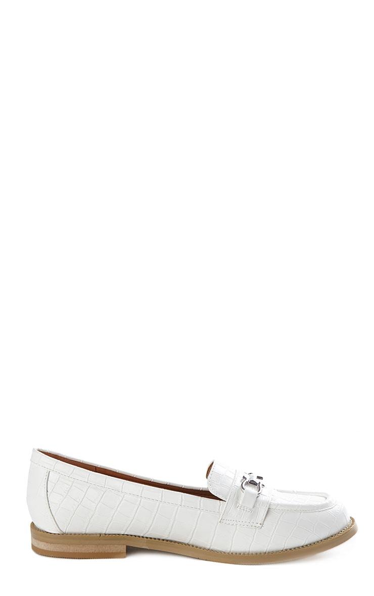 Milan Cream Croc Silver Bar Loafers 7