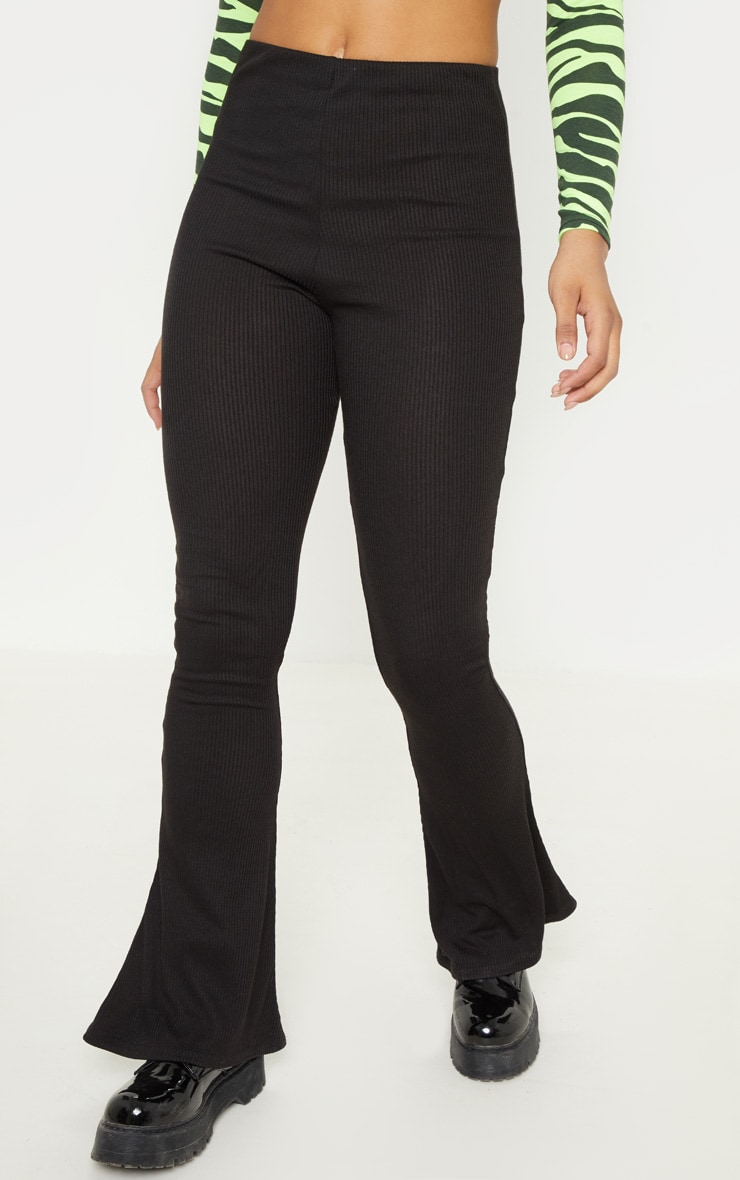 Tall Black Ribbed Flared Pants 2