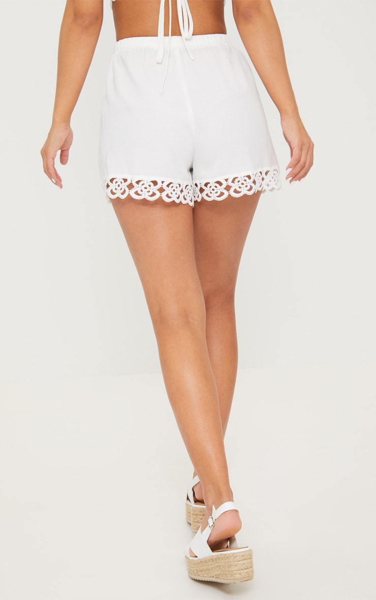 Petite White Crochet Trim Shorts 4