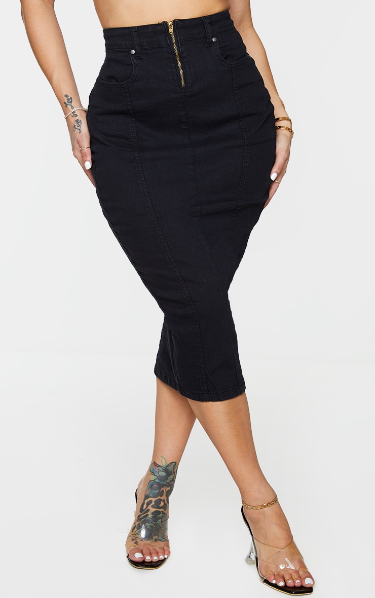 Shape Black Seam Detail Zip Denim Midi Skirt 2
