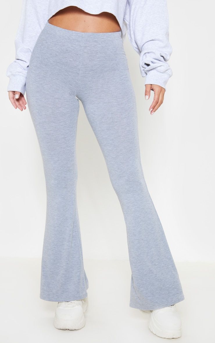 Petite Grey Marl Basic Flare Leg Trousers 2