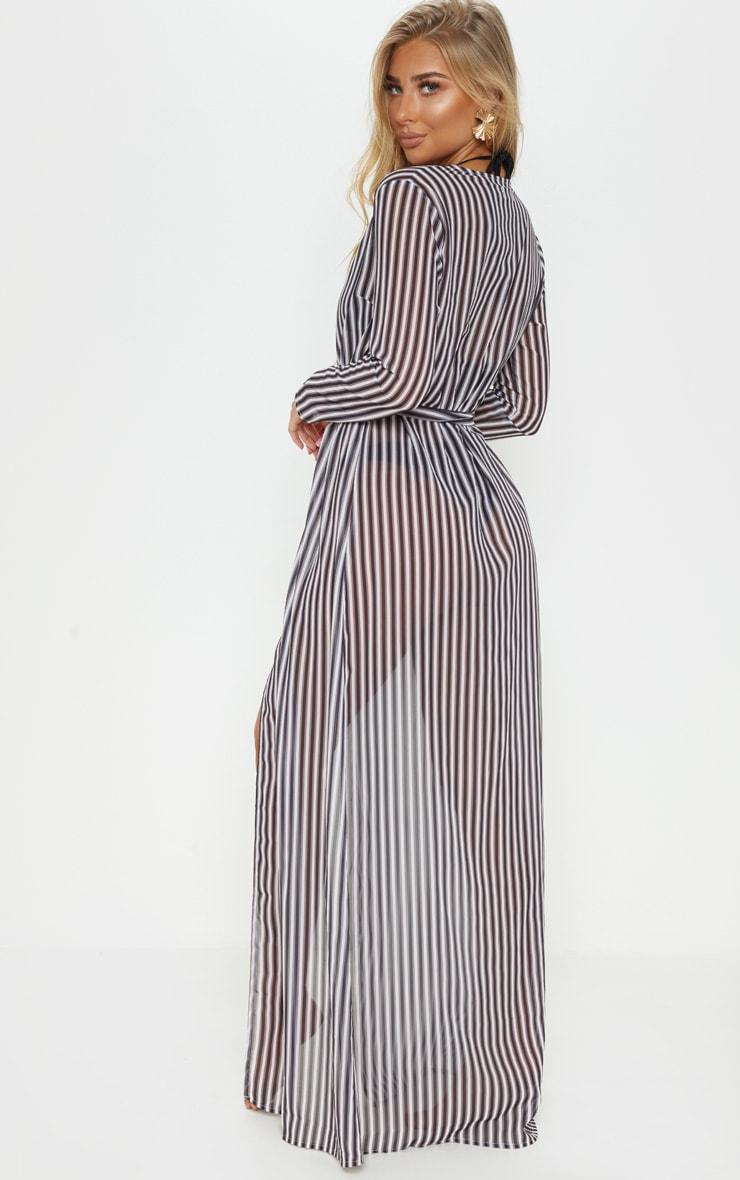 Black & White Stripe Beach Kimono 2