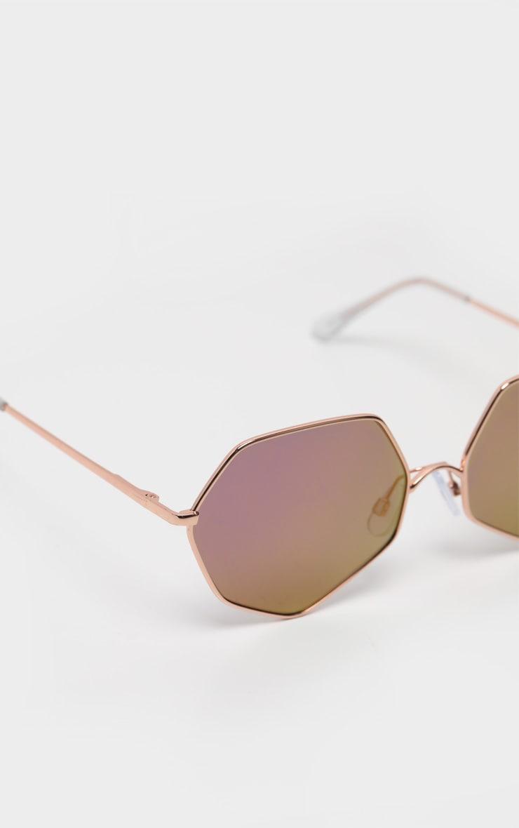Gold Frame Lilac Revo Hexagon Sunglasses 3