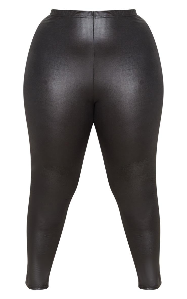 Plus Black Wet Look Legging 3