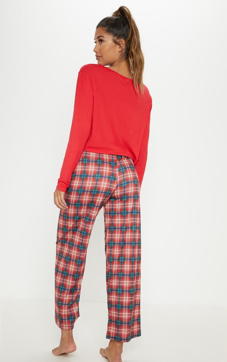 Santa Define Good Check Red Pyjama Set  2