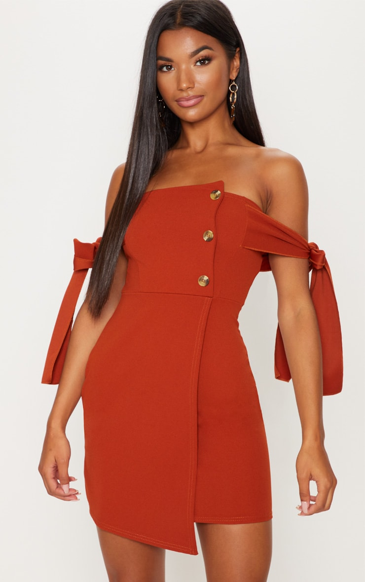 Rust Tortoise Shell Button Tie Sleeve Bardot Bodycon Dress