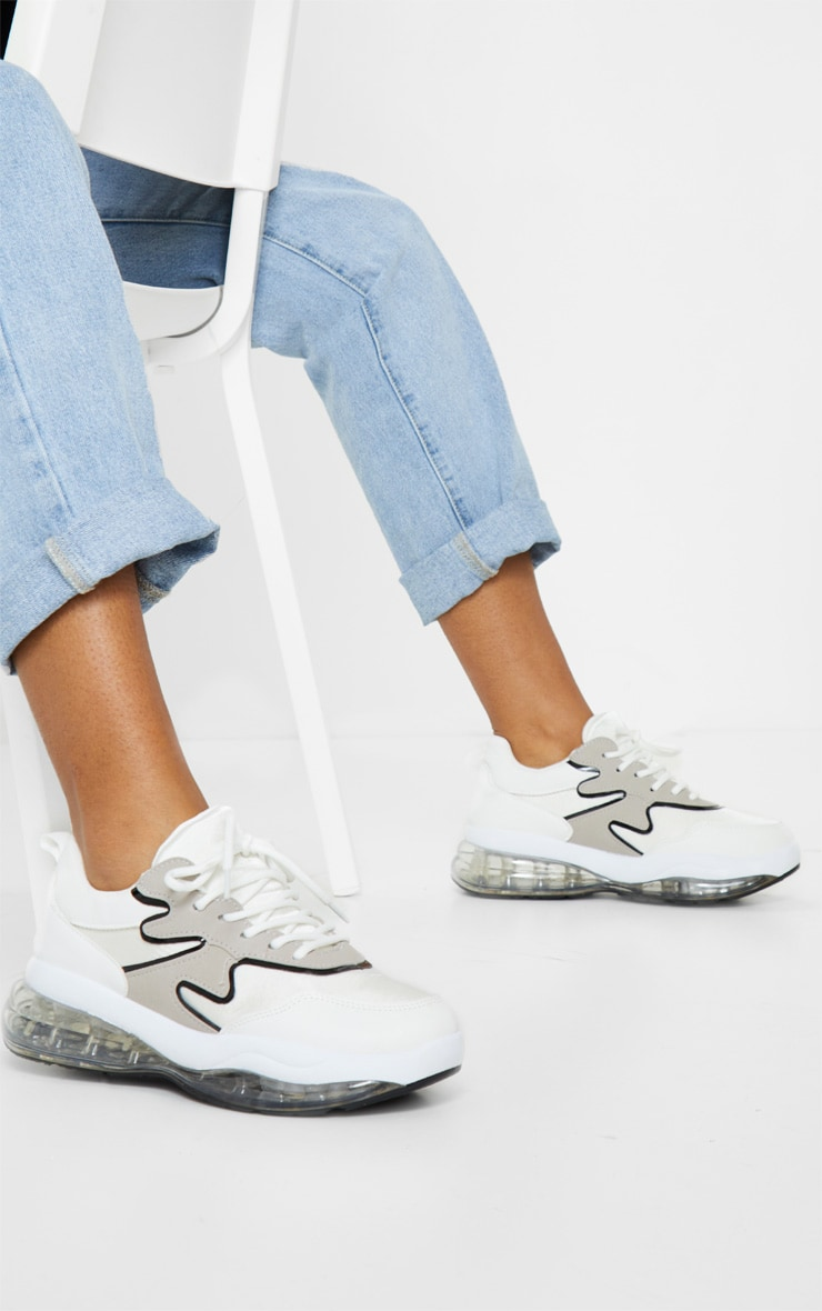 White Clear Bubble Sole Sneakers 1