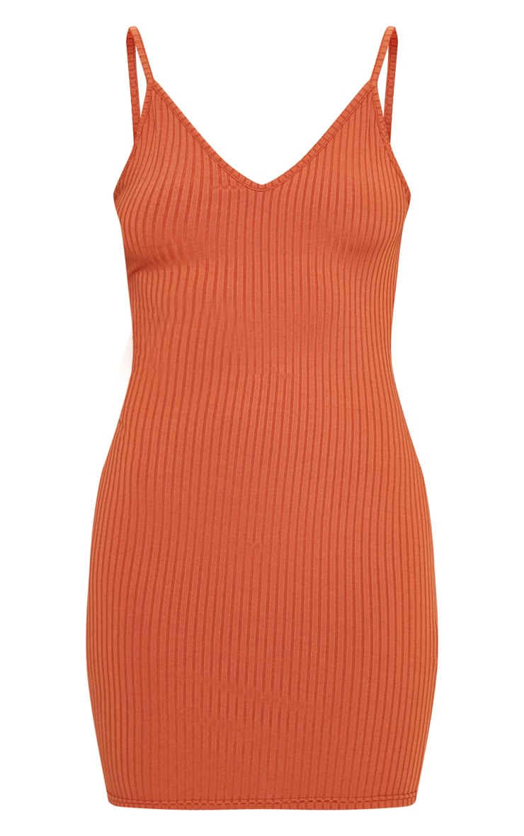 Burnt Orange Rib Plunge Strappy Bodycon Dress 3