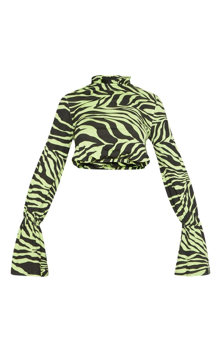 Neon Lime Zebra Printed High Neck Flute Sleeve Crop Top 3