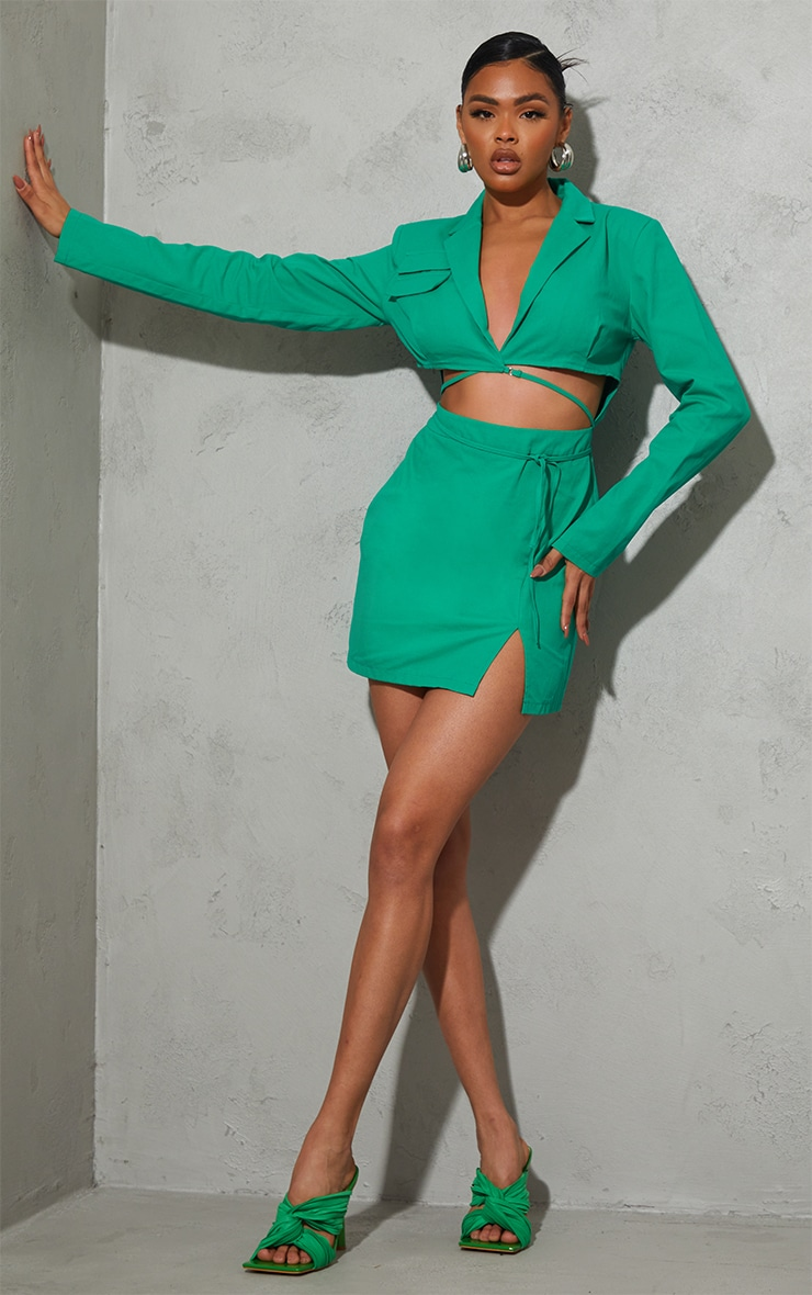 Green Woven Cut Out Tie Waist Utility Style Blazer Bodycon Dress 3