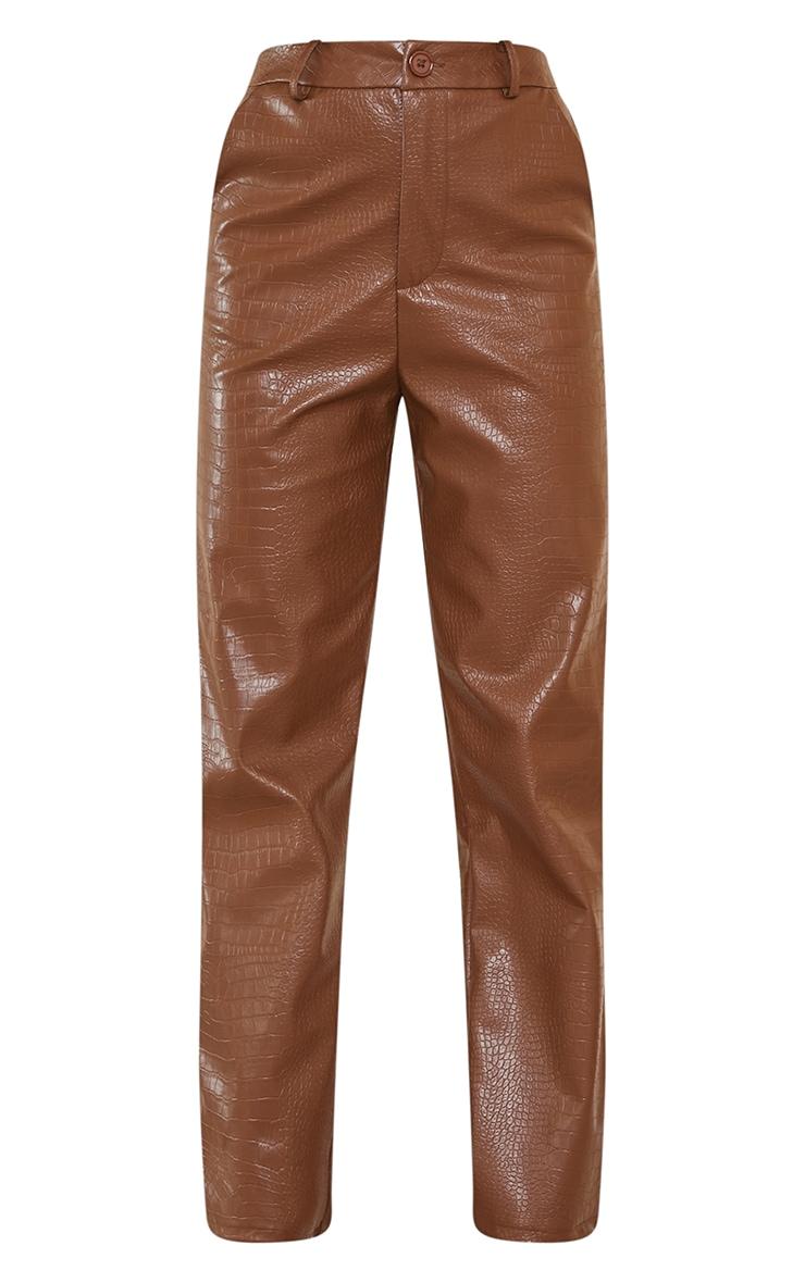 Petite Chocolate Mock Croc PU Pants 5