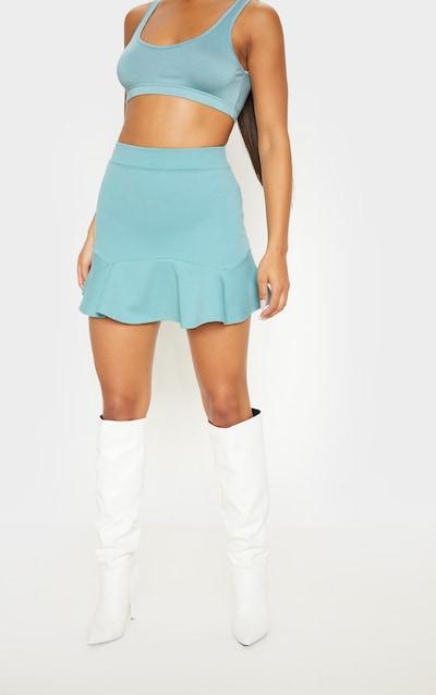 Dusty Turquoise Flippy Hem Mini Skirt