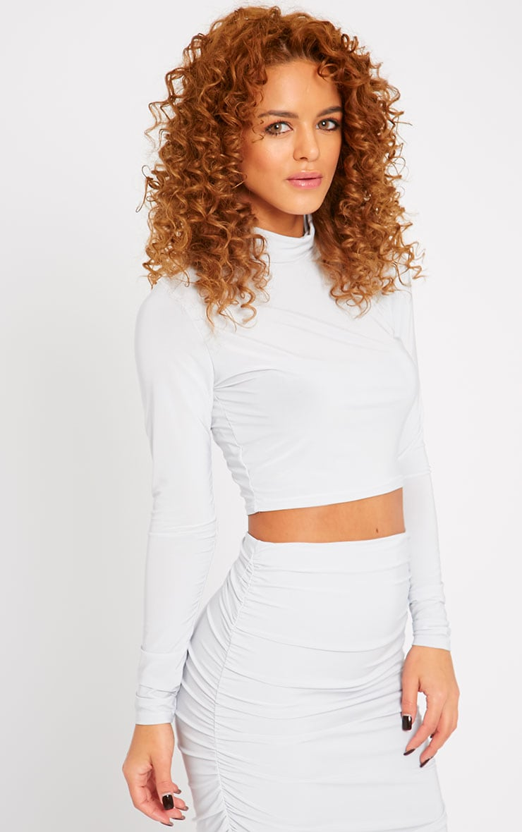 Saylor Ice Blue Slinky Turtle Neck Crop Top 1