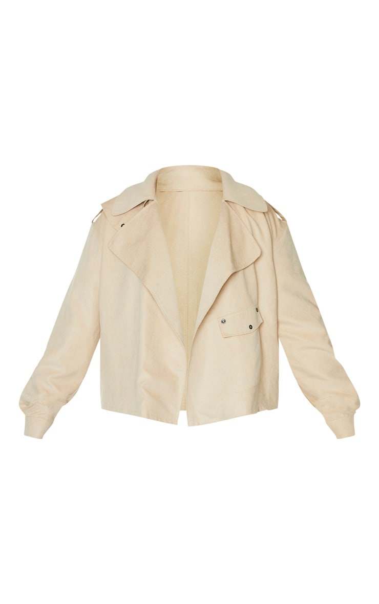 Plus Cream Faux Suede Button Detailed Jacket 3
