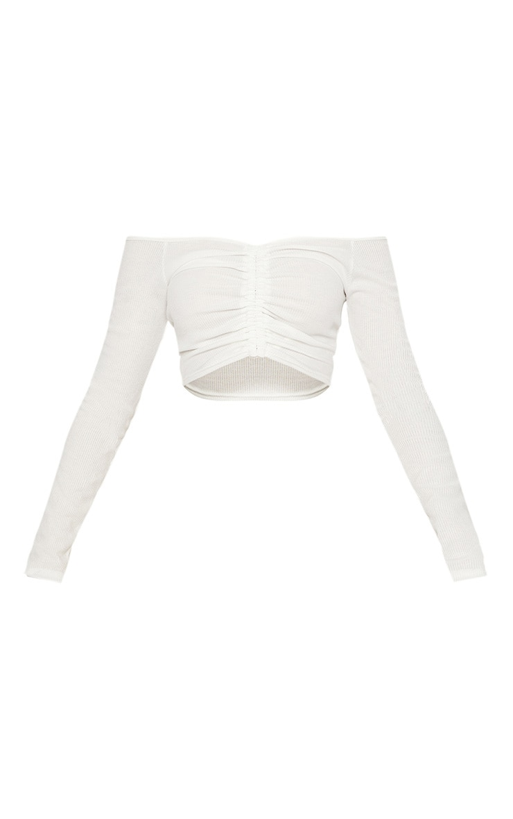 White Rib Ruched Front Long Sleeve Bardot Crop Top 3