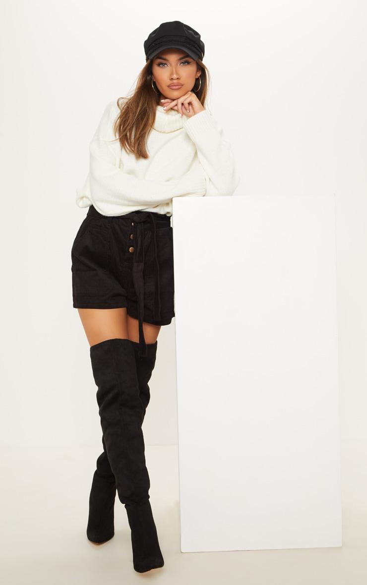 Black Cord Paperbag Shorts  5