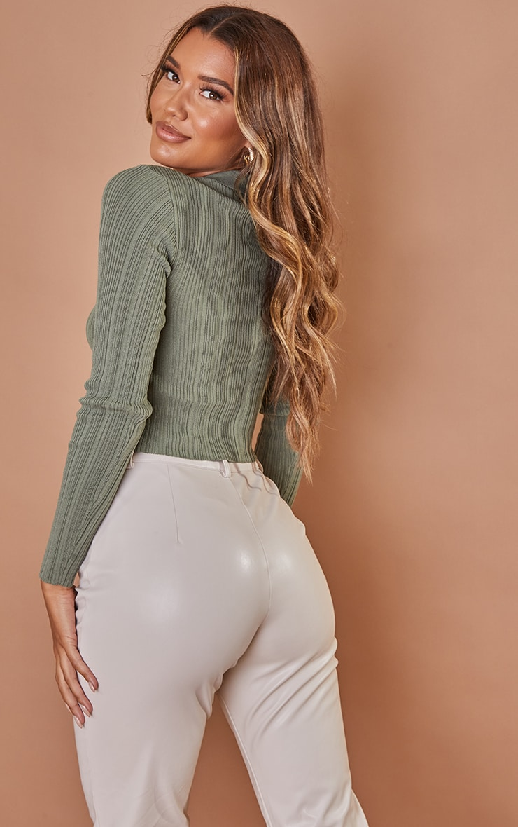 Khaki Sheer Knit Button Up Collared Top 2