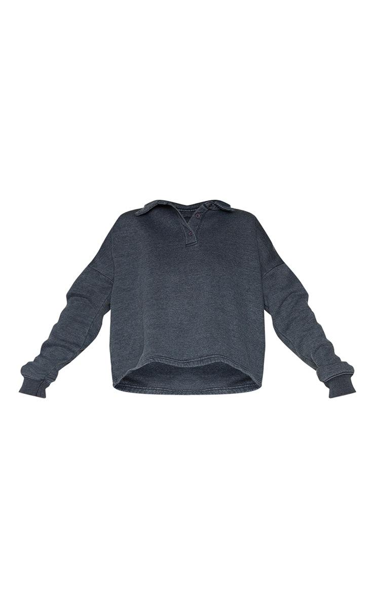 Grey Washed Oversized Sweat Polo Shirt 5