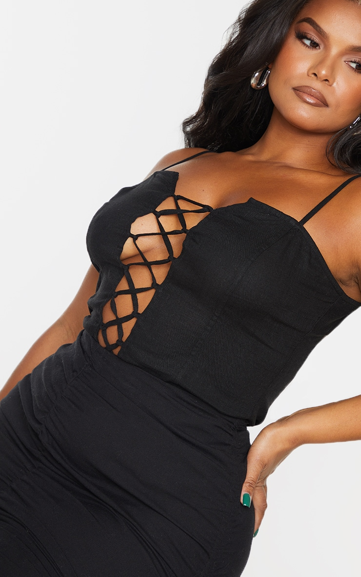Plus Black Lace Up Woven Cami Top 4
