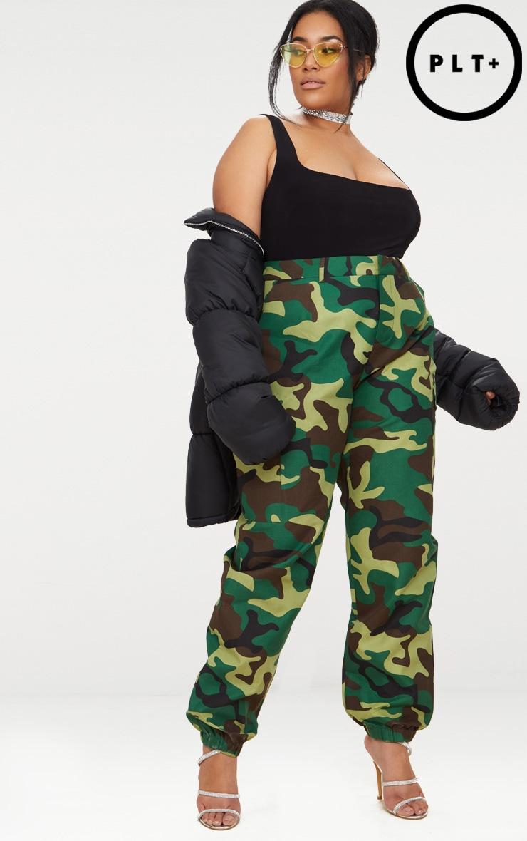 Plus Khaki Camo Print Cargo Trousers 1