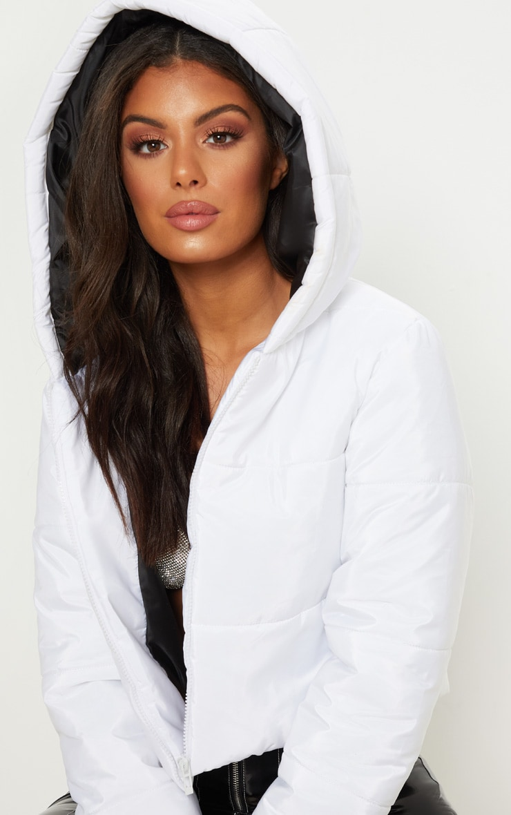 White Hooded Cropped Puffer 5