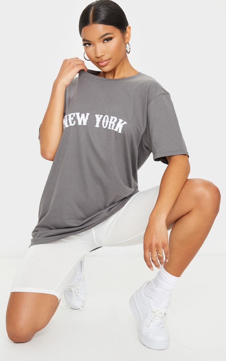 Charcoal Grey New York Printed T Shirt 3