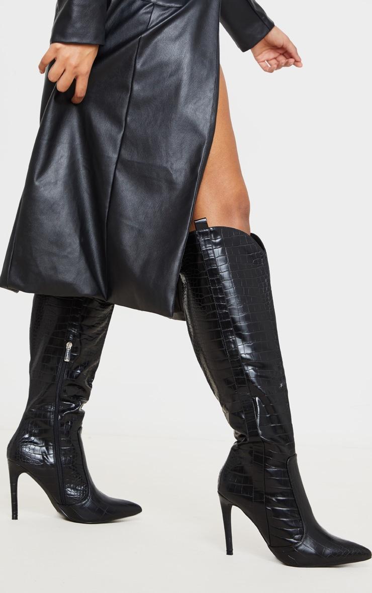 Black Croc PU Stiletto Heel Western Boots 1