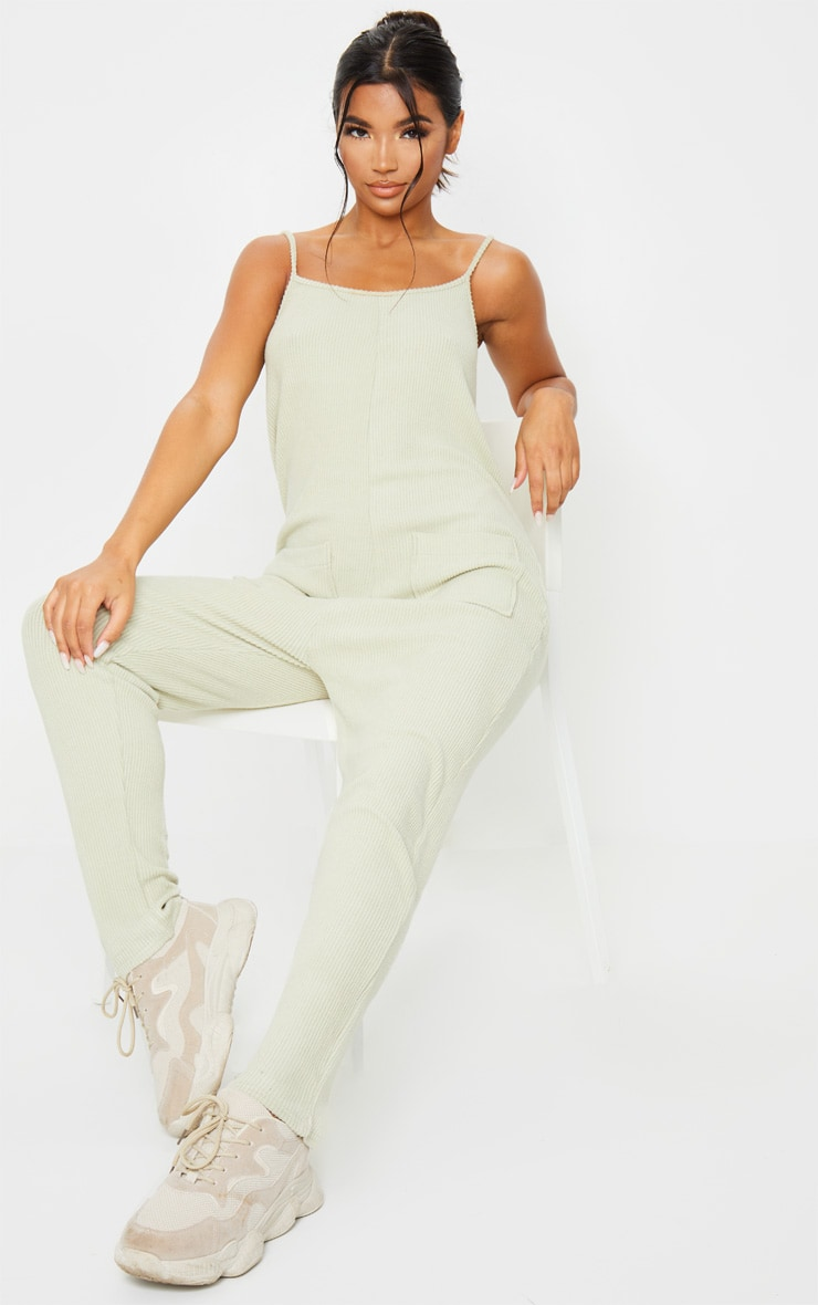 Sage Green Soft Rib Strappy Pocket Jumpsuit 1