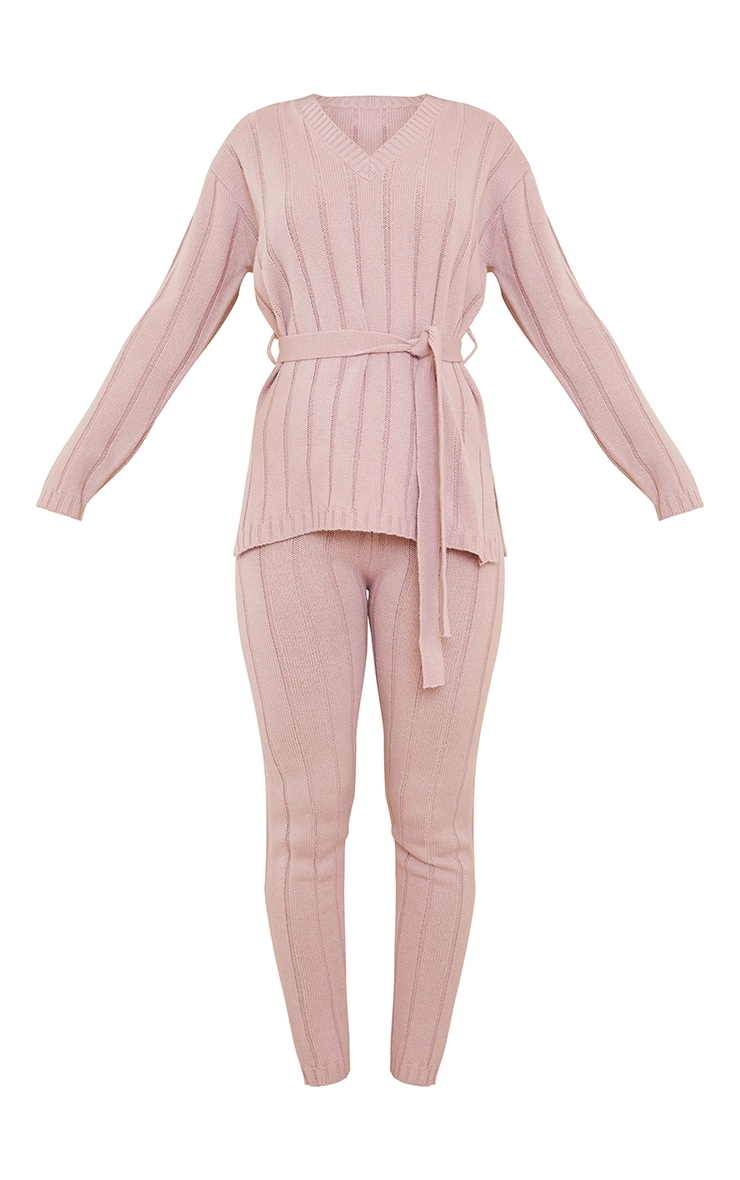 Rose Belted Longline Jumper And Legging Lounge Set 5