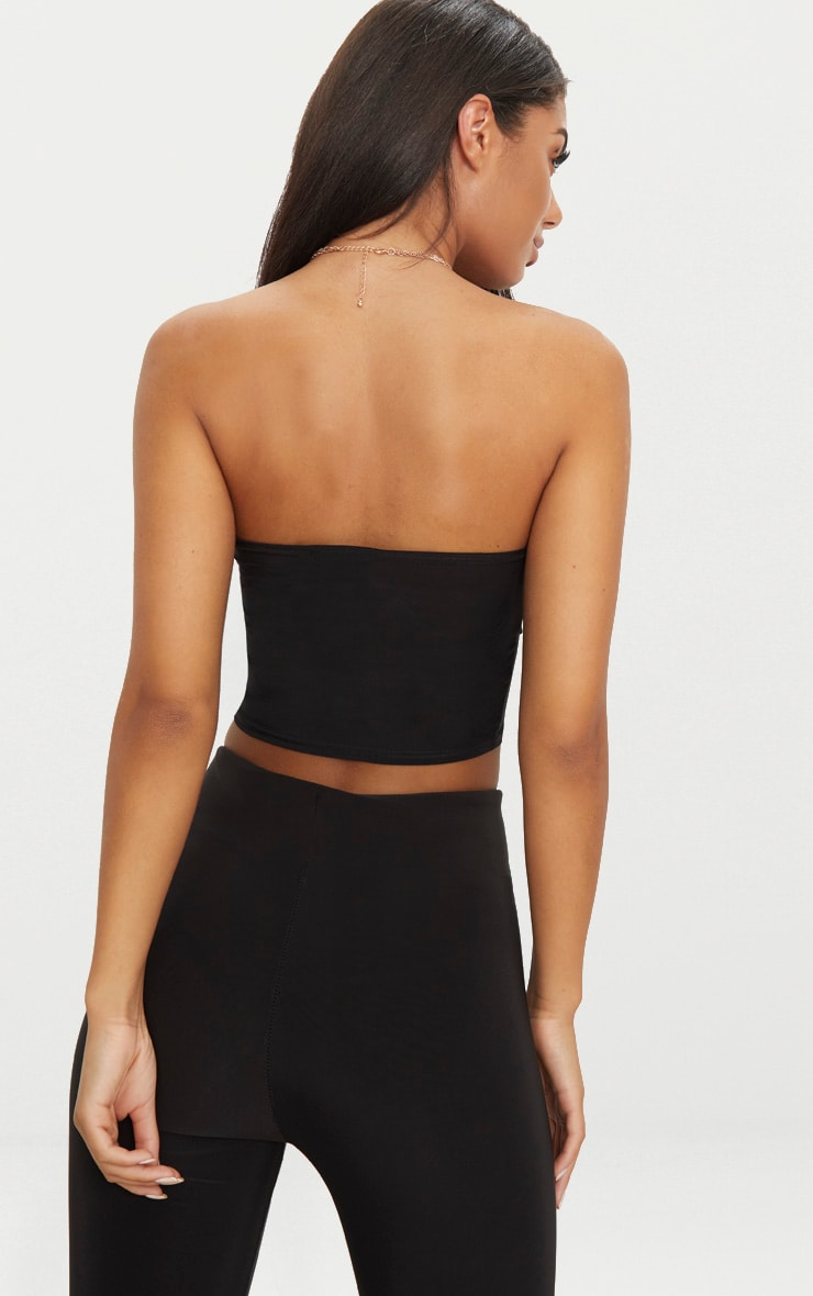Black Slinky Draped Bandeau Crop Top  2