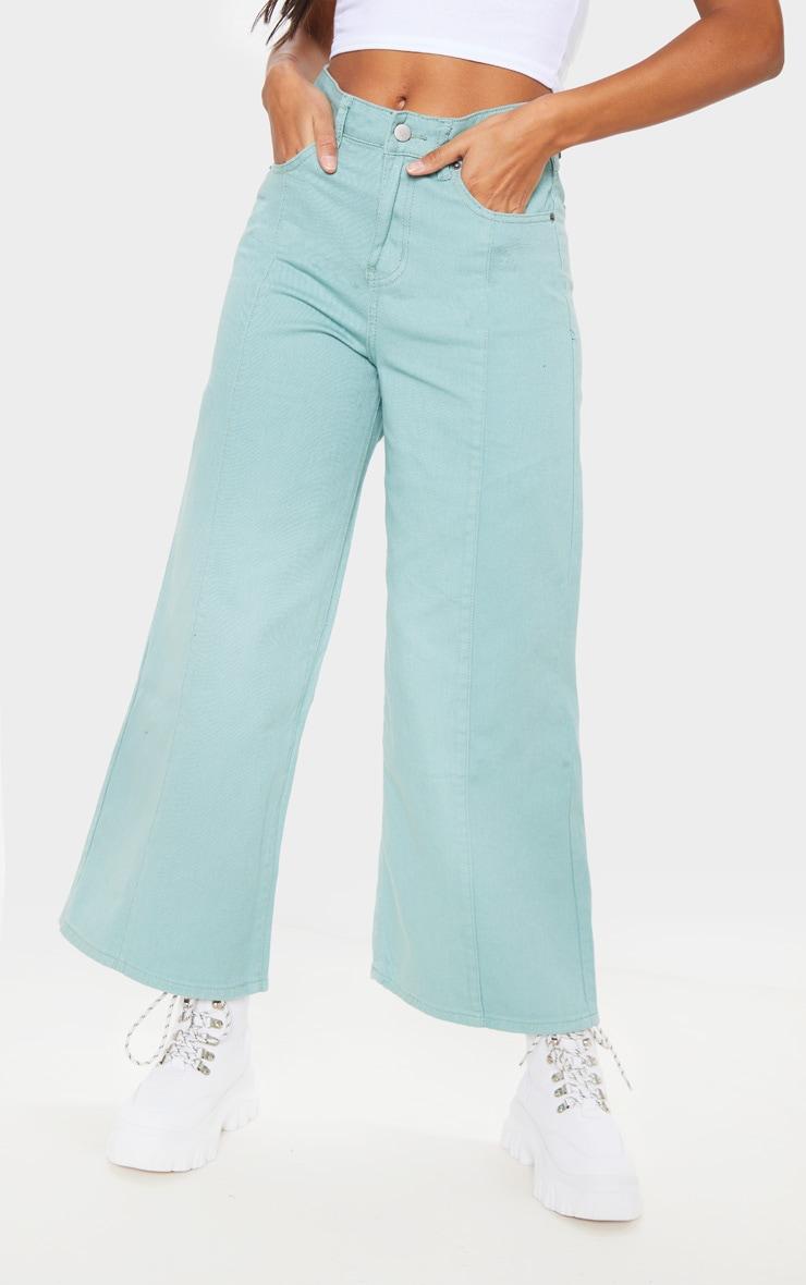 Sage Wide Cropped Jeans  2