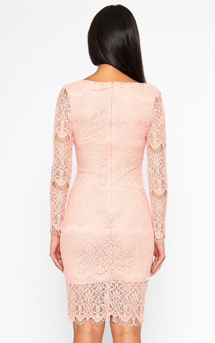 Lenix Coral Lace Midi Dress 2