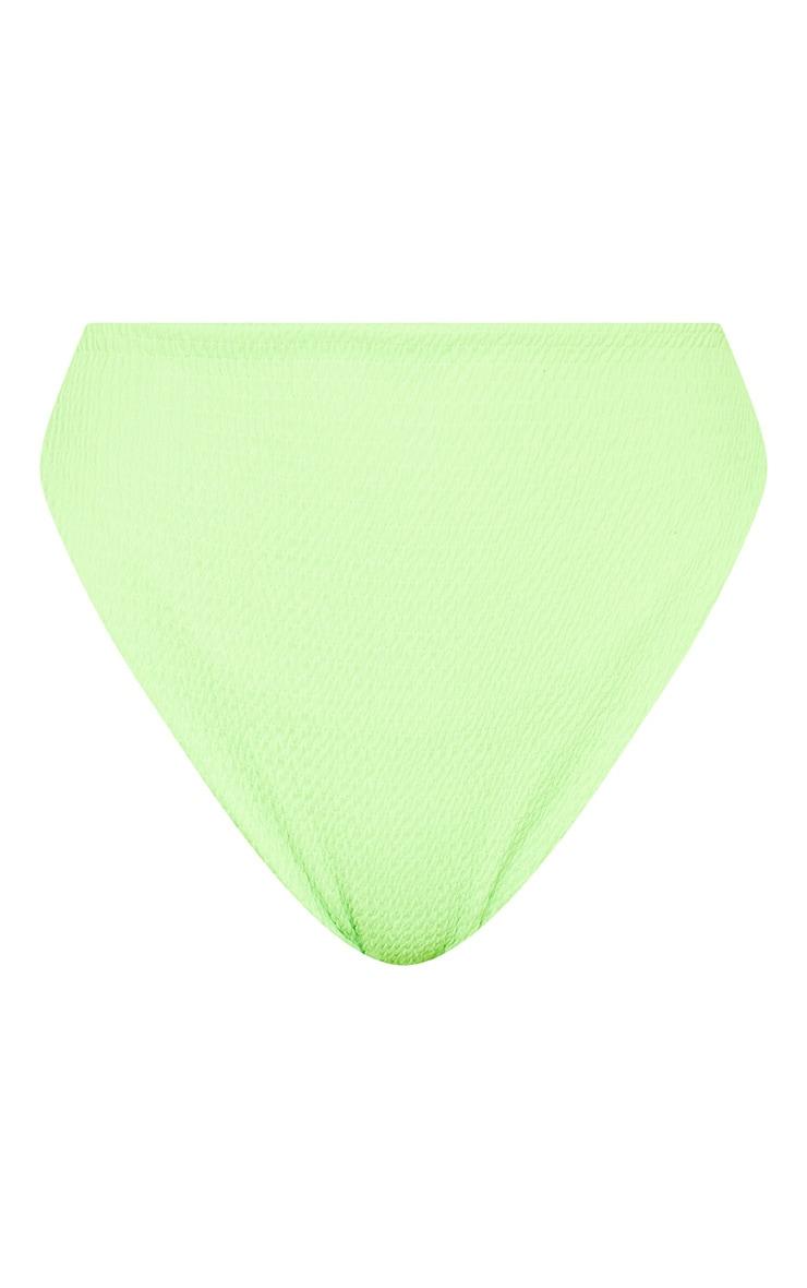 Bas de maillot taille haute vert citron fluo froncé 7
