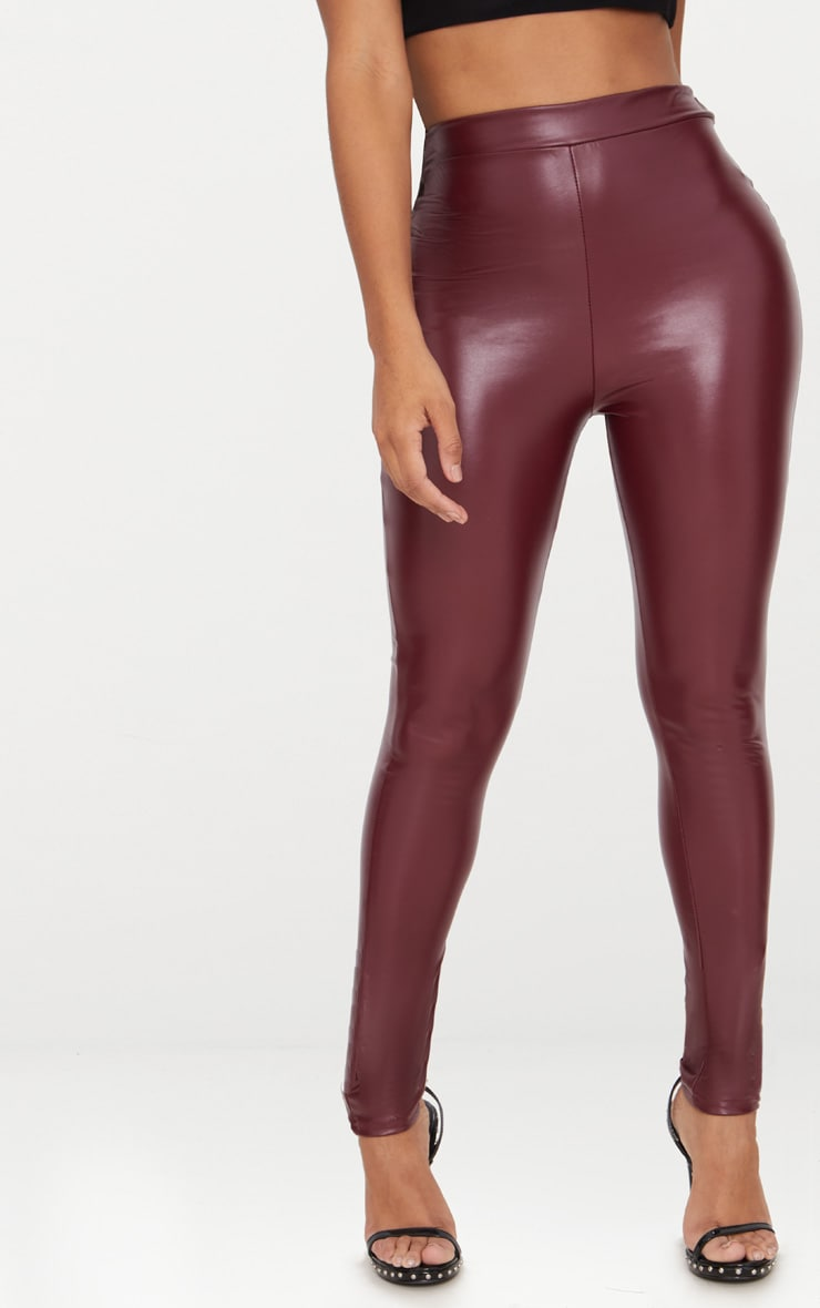 Shape Maroon Matte PU Leggings 2