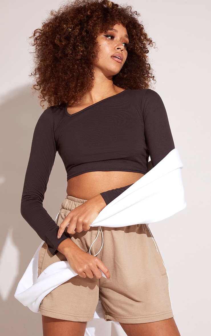 Chocolate Jersey Slashed Neck Long Sleeve Crop Top 1