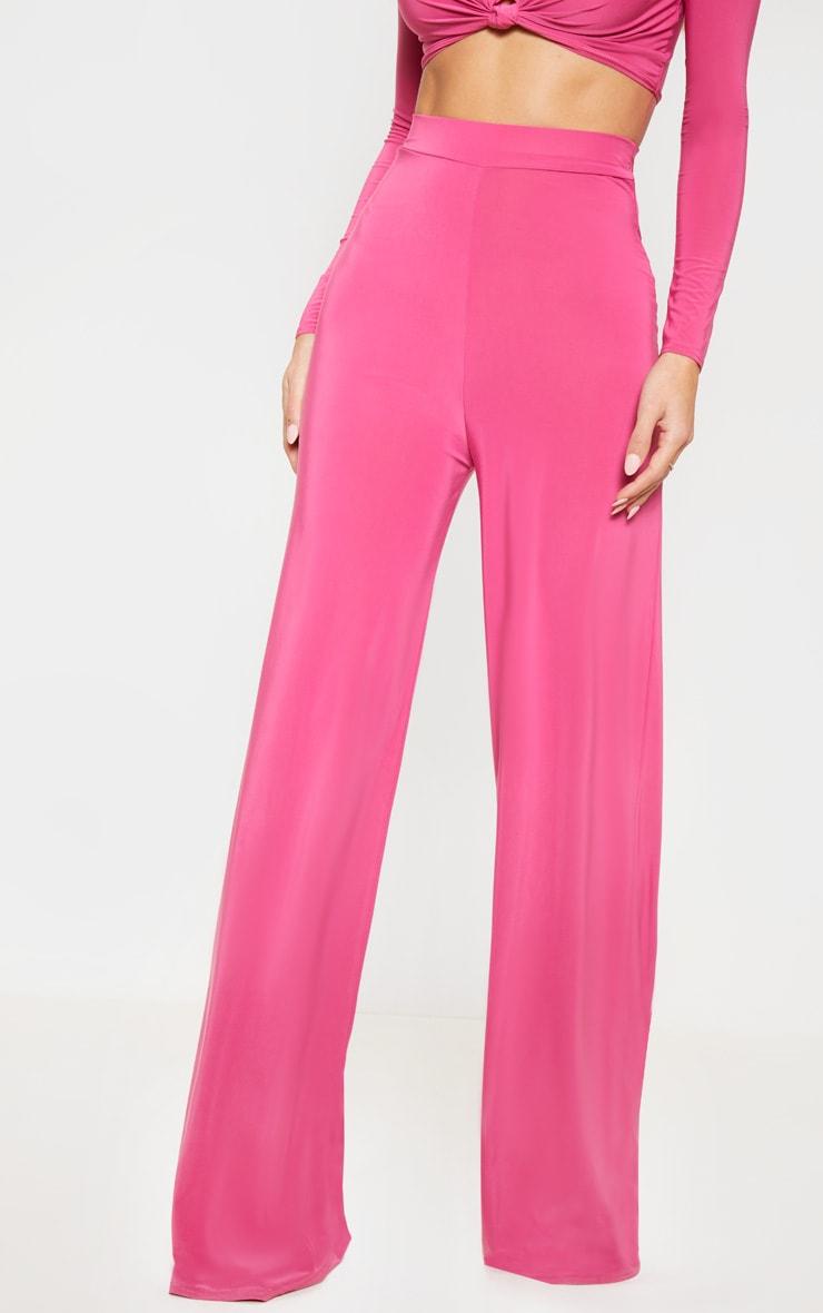 Hot Pink Slinky Palazzo Pants 2