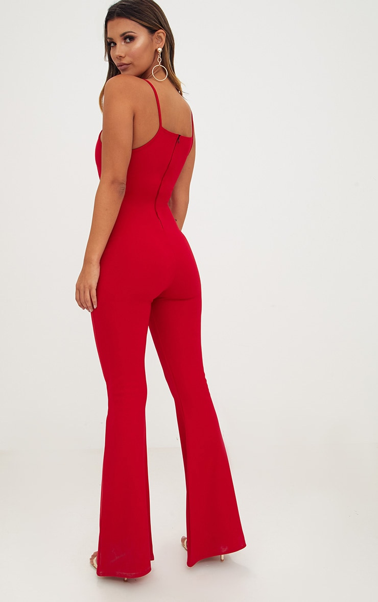 Red Open Middle Wide Leg Jumpsuit 2