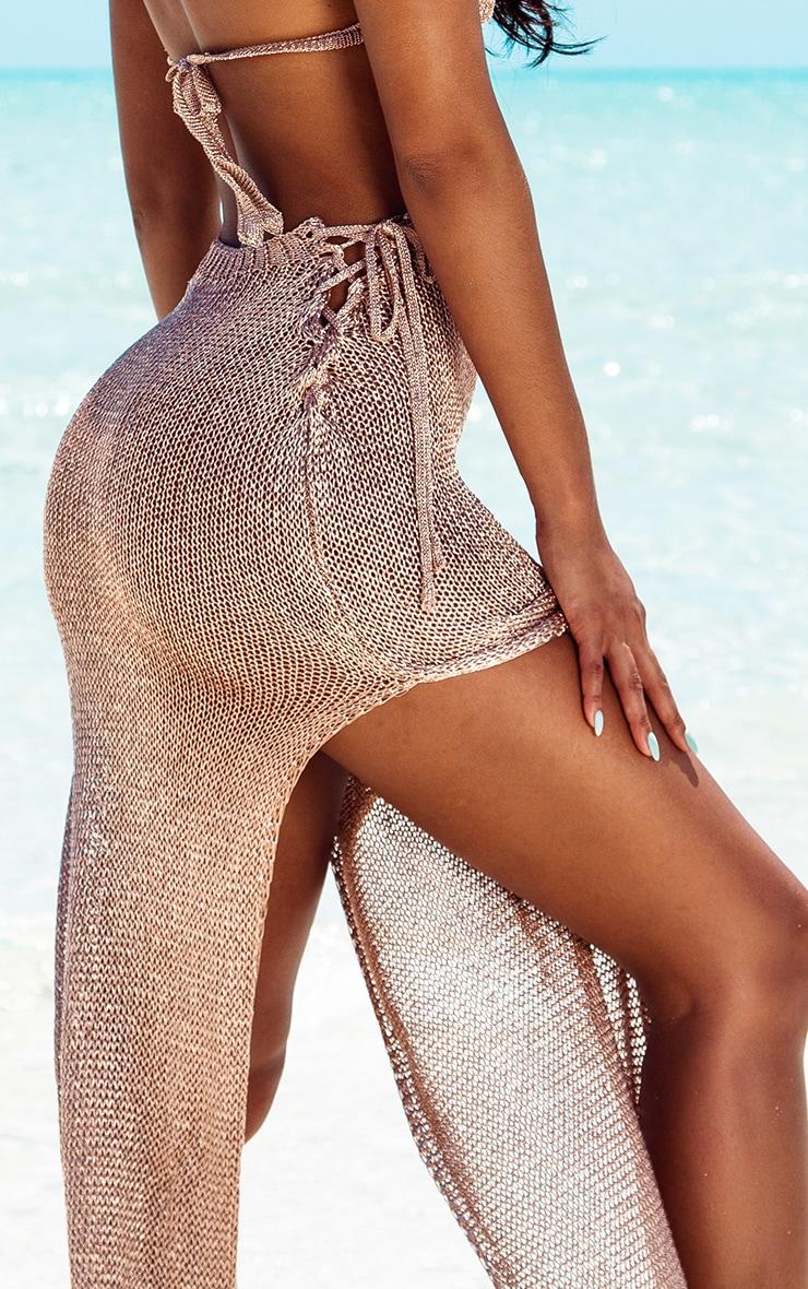Rose Gold Metallic Knitted Maxi Skirt 5