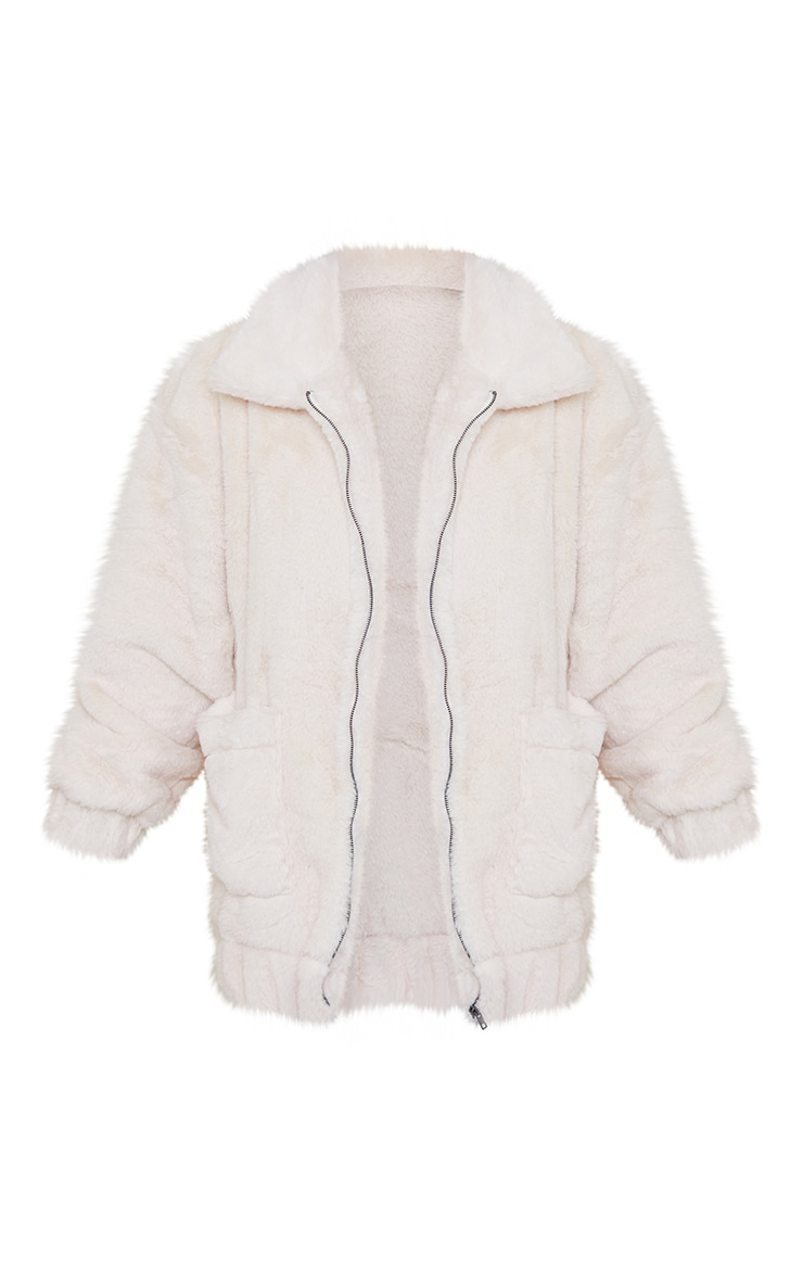 Cream Faux Fur Pocket Front Coat 5