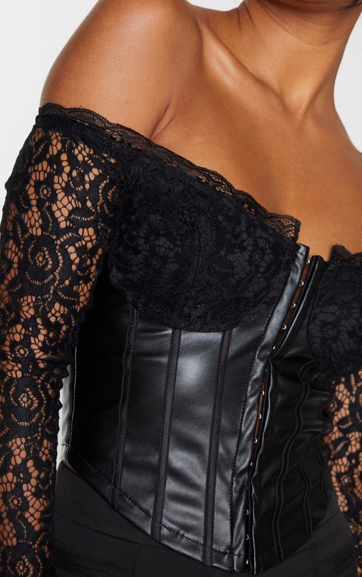 Black Lace Bardot Long Sleeve PU Bodice Blouse 4